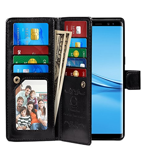 Note 8 Case, Pasonomi Note 8 Wallet Case with Detachable - [Folio Style] PU Leather Wallet case with ID&Card Holder Slot Wrist Strap for Samsung Galaxy Note 8 (Black, Samsung Galaxy Note 8)