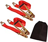 CARTMAN 2'' x 27' Heavy Duty Ratchet Tie Down up to 10,000 lbs 2pk in Carry Bag, Cargo Straps