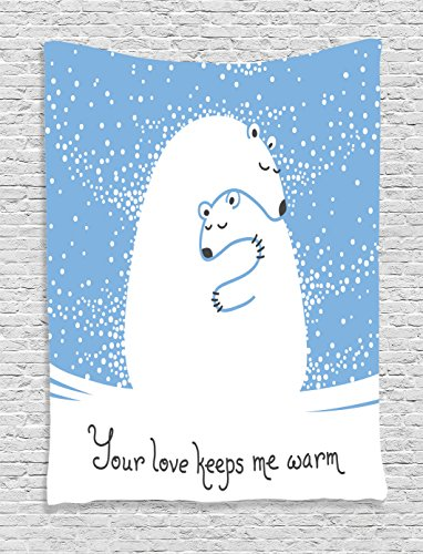 Ambesonne Animal Decor Tapestry, Mother Polar Bear Hugging Her Baby in The Snow North Winter Love Valentine's Art, Bedroom Living Room Dorm Decor, 40 W x 60 L Inches, Blue White