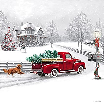 led canvas wall picture vintage red truck christmas tree