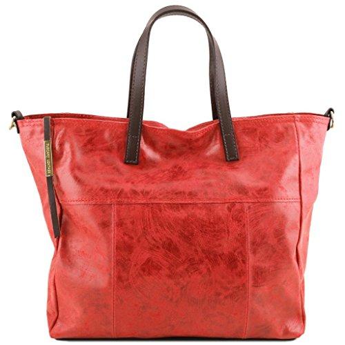 Tuscany Leather Annie TL SMART Shopping Tasche aus Leder im Antikeffekt Rot Lipstick Rot tlzDd