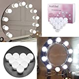 LED Vanity Mirror Lights - FeelGlad 10 LEDs/13FT Hollywood Style Makeup Bulbs with UK Power Supply and Rotate Dimmer CE,FCC Certified for Makeup Mirrors in Dressing Room and Bathroom( Mirror Not Included ) (white)