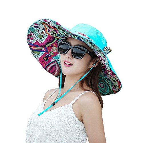 (Women's Foldable Floppy Reversible Sun Visor Hat Wide Brim UPF 50+ Beach Party Garden Travel Cap)