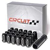 Circuit Performance Spline Drive Tuner Acorn Lug Nuts Black 1/2x20 1/2'' Forged Steel (24pc + Tool)