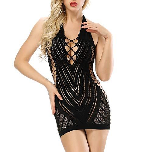 Fishnet V-neck Bodystocking - Black Womens Fishnet Lingerie V-Neck Babydoll One-Piece Teddy Backless Mini Dress