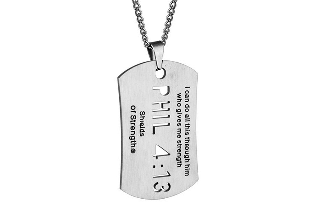 LiFashion LF Mens Stainless Steel Phil 4 13 Hollow Out Carved Scripture Necklace Bible Verse Prayer Strength Powerful Military Dog Tag Inspirational Pendant for Dad Husband Boyfriend Son Gift