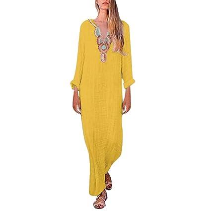 Womens Sleeveless V Neck Loose Plain Linen Maxi Dresses Casual Split Hem Baggy Kaftan Long Dresses
