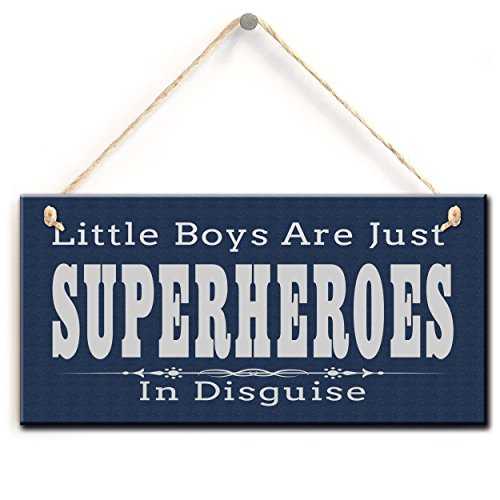 (Little Boys Are Just Superheroes In Disguise, Superheroes Kids Room Decor Sign Plaque (5