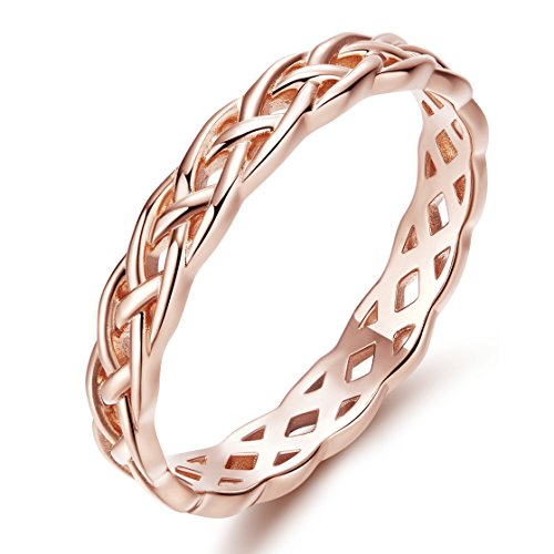 Band Rose Ring (925 Sterling Silver Rose Gold Celtic Knot Rings Wedding Engagement Bands with Gift Box)