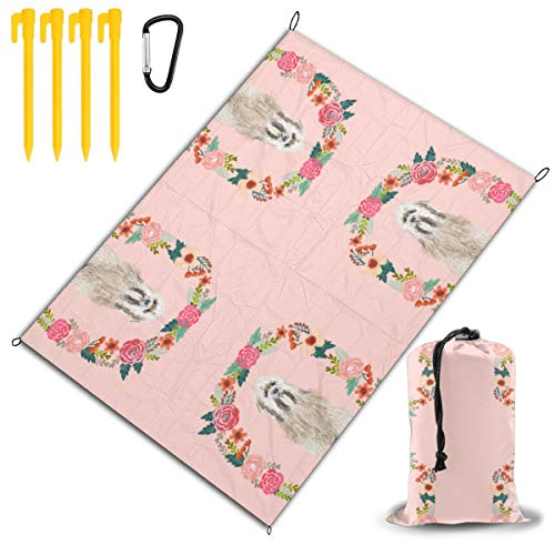 GHDSKH 8 Inch Tibetan Terrier Floral Wreath Flowers Dog B Beach Blanket Sand Proof and Waterproof Pocket Sized Picnic Mat Outdoor Beach Mat for Camping, Travel, Hiking, Festival and Sports