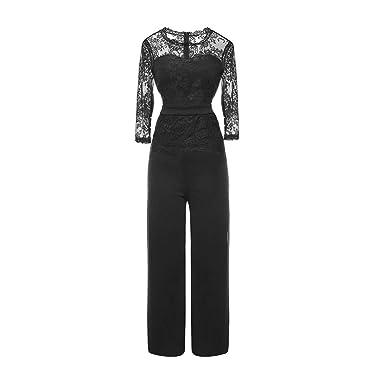 832fed9b03d4 Women s 3 4 Jumpsuit - Elegant Solid Color Lace Long Jumpsuits Casual Party  Office Wide