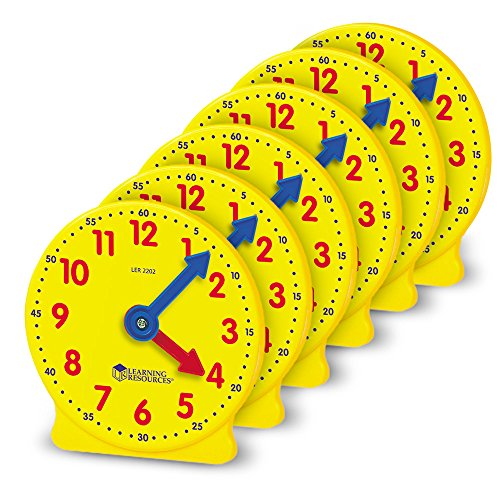 Learning Resources Gear Clock, 4 Inch, Set of 6 (Elapsed Time Number Line)