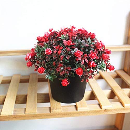 (Wcic Plastic Fake Plants Vase Bonsai Flower Artificial Wedding Decoration Artificial Rose Flowers Simulation Green Plant Bonsai : C)