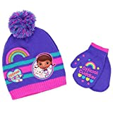 Doc McStuffins Girls Beanie Hat and Mittens Set (Dark Purple)