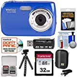 Vivitar ViviCam S126 Digital Camera (Blue) with 32GB Card + Hard Case + Flex Tripod + Reader + Kit