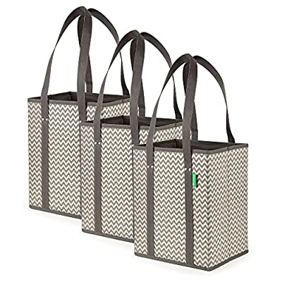 Reusable Shopping Bag Set | 3-Pack | Premium Quality | Unfolds Like a Box for Easy Access | Perfect Grocery Shopper Tote | 30 lb. Capacity | Eco Friendly, Durable and Folds Flat for Easy Storage
