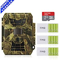Deer Camera with Night Vision, HUNTOOLER 12MP 1080HD No Glow Infrared Game Trail Scouting Cameras for Deer Hunting. Class 10 Memory Card and Outdoor Sports Battery for Professional Use Included.