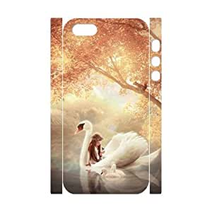 3D Bumper Plastic Customized Case Of Swan for iPhone 5,5S