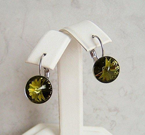 Olivine Green Round Rivoli Crystal Swarovski Elements Earrings Leverback Stainless (Olivine Jewel)