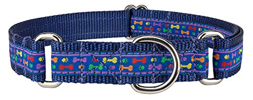 Country Brook Design Rainbow Paws and Bones Woven Ribbon on Navy Blue Martingale Dog Collar Limited Edition - Extra Large
