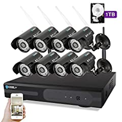 Surveillance 8CH 1080P NVR Set Wifi 720P 3.6mm 36-LED Waterproof IP Camera Nvr Kit Build In 1TB HDD              Noted -- Please note that this is not battery powered cameras. The wireless system don't mean you can use the system witho...