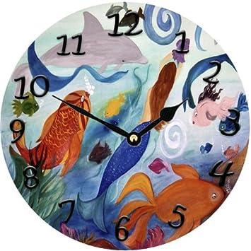 Tropical Fish and Mermadi party Art wall clock 11 round