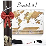 Scratch off Map of the World : Track your travel Adventures White Elegant Design USA Map with States / World Map Poster with Flags & Accessories Gift for Travelers Men Women Office by BLUEBANA