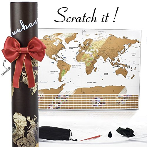 Scratch off Map of the World : Track your travel Adventures White Elegant Design USA Map with States / World Map Poster with Flags & Accessories Gift for Travelers / Men / Women Office by BLUEBANA
