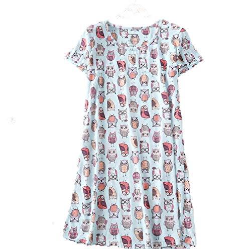 PNAEONG Amoy-Baby Women's Nightgowns Short Sleeves Cotton Sleepwear Print Sleep Shirt XTSY108-Owl-M ()