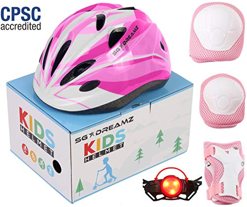SG Dreamz Kids Helmet with Protective Gear - Adjustable from Toddler to Youth Size Ages 3 to 7 - Nice Package Perfect for Gift - Multi-Sports w LED Safety Light - CSPC Certified (H12+LED+BoxPG+Pink)