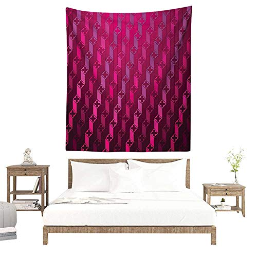 alisoso Wall Tapestries Hippie,Magenta Decor,Abstract Stripe Psychedelic Motif Fashion Gradient Retro Structured Grid Art,Taffy Rouge W47 x L47 inch Tapestry Wallpaper Home - Duvet Covers Rouge
