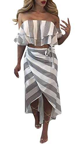 YOMISOY Women's Sexy Ruffle Off The Shoulder Striped 2 Piece Set Outfit Crop Top Skirt Dress