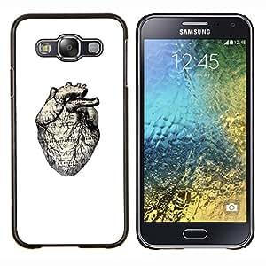 LECELL--Funda protectora / Cubierta / Piel For Samsung Galaxy E5 E500 -- Anatomía Dibujo blanco del corazón humano --