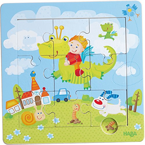 HABA Dragon Knights Framed Wooden Puzzle - with 9 Double Sided Jigsaw Pieces for Ages 18 Months and Up