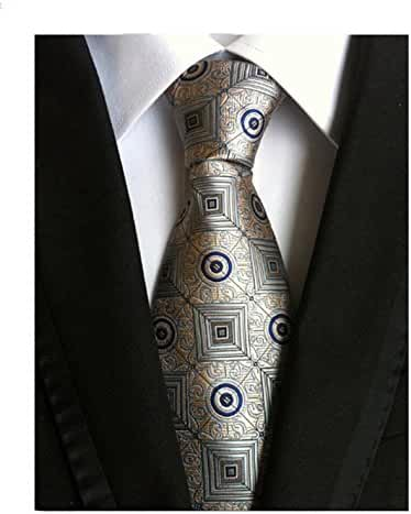 MINDENG Mens Business Formal Ties Checks Woven Silk Necktie Wedding Suit Tie