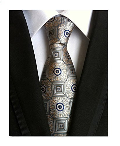 Silver Business Tie MINDENG Suit Wedding Checks Men's Neck Silk Formal Woven Uqwp5vq