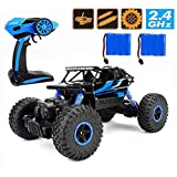 CR 2.4Ghz 1/18 RC Rock Crawler Vehicle Buggy Car 4 WD Shaft Drive High Speed Remote Control Monster Off Road Truck RTR (Blue)