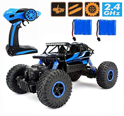 RC Car ,CR 2.4Ghz 4WD High Speed Off-Road Vehicle RC   Rock Crawler 1:18 Electric Radio Remote Control Monster   Truck Fast Hobby Truggy - Blue Truck Rc