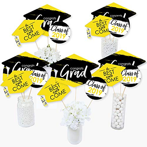 Yellow Grad - Best is Yet to Come - 2019 Yellow Graduation Party Centerpiece Sticks - Table Toppers - Set of 15 -