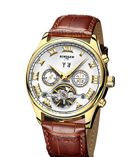 - BINSSAW Men Mechanical Watch Luxury Leather Strap Automatic Sport Watches Mens Waterproof Fashion Tourbillon Gold Wristwatch RY-Brown