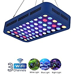 TOPLANET Led Aquarium Light WiFi/Dimmable 165W Light Full Specturm Timer Control White/Blue Light Channel for Indoor Saltwater Fresh Water Coral Reef Decoration 55-75 Gallon Fish Tank Plant Growth