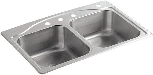 KOHLER K-3145-4-NA Cadence Self-rimming Kitchen Sink