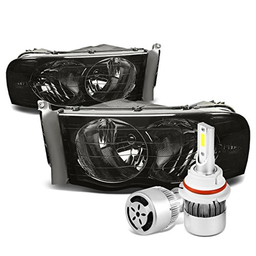 For Dodge Ram 3rd Gen Pair of Smoked Lens Clear Corner Headlight + 9007 LED Conversion Kit W/Fan