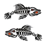 MagiDeal 2 Pieces / Set Kayak Decals Fish Bones Skeleton Stickers for Kayak Canoe Fishing Boat Wall Car Accessories