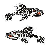 MagiDeal 2 Pieces / Set Kayak Decals Fish Bones Skeleton Stickers for Kayak Canoe Fishing Boat Wall Car Accessories