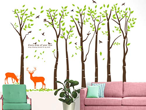 (Mix Decor Tree Wall Decal - 7 Trees Wall Sticker Large Family Forest for Livingroom Kid Baby Nursery Room Deer Wooland Decoration Party Birthday Gift,118x83 Inch Coffee + Green)