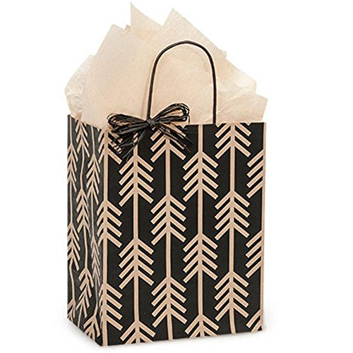 Kinetic Ink Kraft and Black Paper Shopping Bags - Cub Size - 8 x 4 3/4 x 10 1/4in. - 250 Pack by NW
