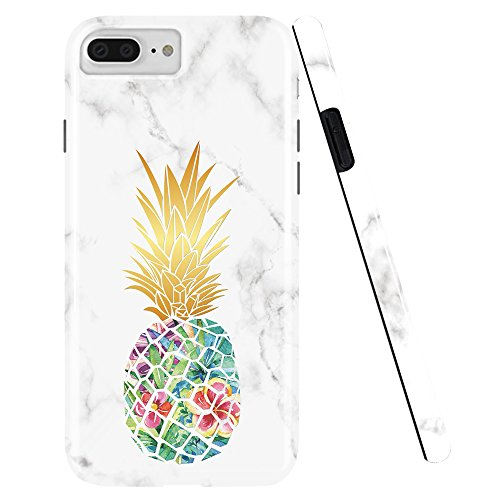 DOUJIAZ Compatible with iPhone 7 Plus Case,iPhone 8 Plus Case,Marble Design Clear Bumper TPU Soft Case Rubber Silicone Skin Cover for iPhone 7 Plus (2016) / iPhone 8 Plus (2017) -1 Green Pineapple