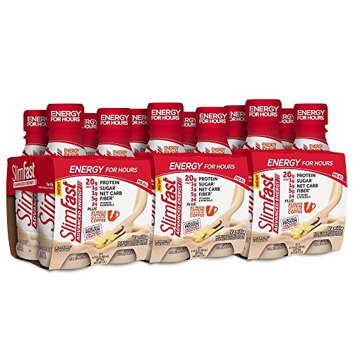 SlimFast Advanced Energy Vanilla Shake - Ready to Drink Meal Replacement - 20g of Protein - 11 fl. oz. Bottle - 12 count ()