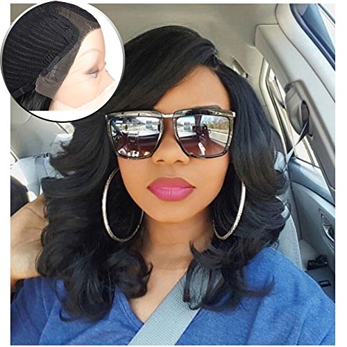 Lady Miranda Loose Wave Wig Pure Color Nature Curly Synthetic Heat Resistant Weave Full Wigs for Women (Lacce (Womens Heat Waves)